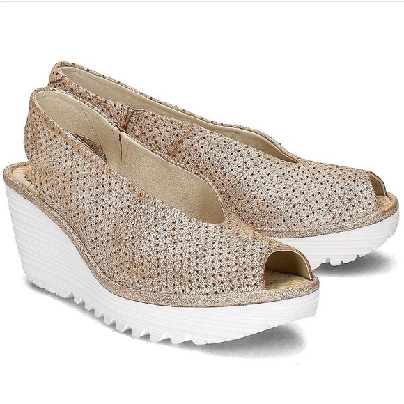 f1aa0d424e84 Fly London Shoes - Fly London Yazu Distressed Perforated Wedge Sandal